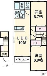 サン フォレスタA 2階2LDKの間取り