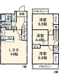 東急田園都市線 江田駅 徒歩9分の賃貸一戸建て 1階3LDKの間取り