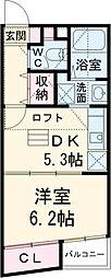 西武池袋線 所沢駅 徒歩6分の賃貸マンション 5階1DKの間取り