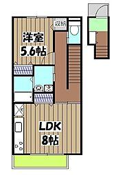 阪急京都本線 東向日駅 徒歩10分の賃貸アパート 2階1LDKの間取り