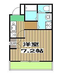 阪急京都本線 桂駅 徒歩2分の賃貸マンション 2階1Kの間取り