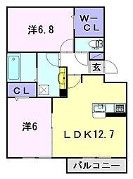 名鉄犬山線 布袋駅 徒歩32分の賃貸アパート 3階2LDKの間取り