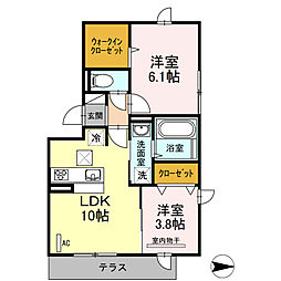 JR篠栗線 門松駅 徒歩22分の賃貸アパート 1階2LDKの間取り