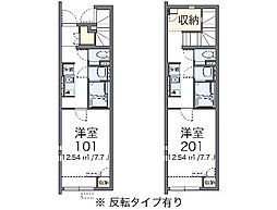 JR東海道本線 三河塩津駅 徒歩7分の賃貸アパート 1階1Kの間取り