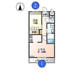 名鉄名古屋本線 笠松駅 徒歩31分の賃貸アパート 2階1LDKの間取り