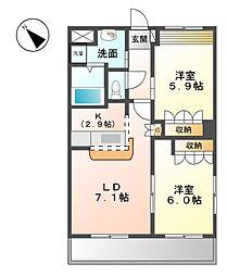 エマーブル五番館 2階2LDKの間取り