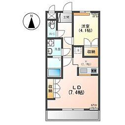 真岡鐵道 七井駅 徒歩29分の賃貸アパート 1階1LDKの間取り