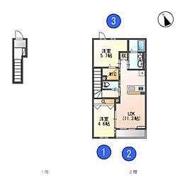 JR青梅線 昭島駅 バス31分 春名塚下車 徒歩1分の賃貸アパート 2階2LDKの間取り