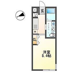 小田急小田原線 鶴巻温泉駅 徒歩10分の賃貸アパート 2階1Kの間取り