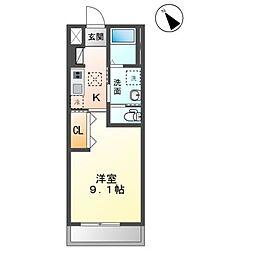 JR内房線 袖ヶ浦駅 徒歩1分の賃貸アパート 1階1Kの間取り