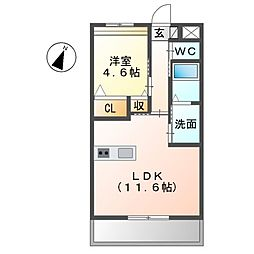 エクシード北山 3階1LDKの間取り