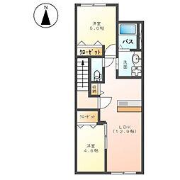 (仮称)平塚市南原アパート新築工事 2階2LDKの間取り