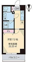 COURT TAKETOKU III 6階1Kの間取り