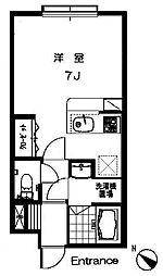 ブレンハイム I 1階ワンルームの間取り