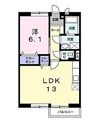 ルミエールII 2階1LDKの間取り