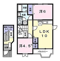コ-タ・コ-トA 2階2LDKの間取り