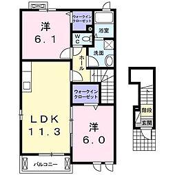 レインボー II 2階2LDKの間取り