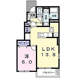 東武伊勢崎線 北春日部駅 徒歩23分の賃貸アパート 1階1LDKの間取り