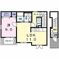 東武伊勢崎線 東武動物公園駅 徒歩13分の賃貸アパート 2階1LDKの間取り