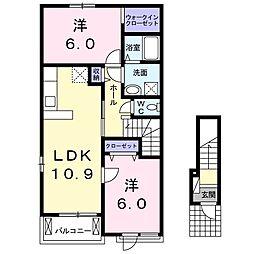 名鉄小牧線 楽田駅 徒歩23分の賃貸アパート 2階2LDKの間取り