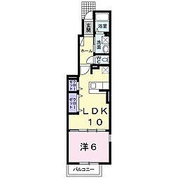 JR飯田線 東新町駅 徒歩14分の賃貸アパート 1階1LDKの間取り