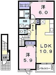 JR成田線 佐原駅 バス12分 鳥羽下車 徒歩3分の賃貸アパート 2階2LDKの間取り