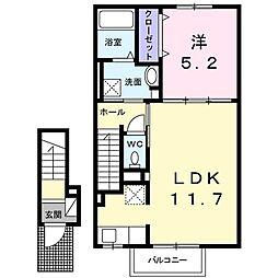 レ ミュー 2階1LDKの間取り