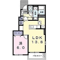 名鉄瀬戸線 尾張瀬戸駅 徒歩14分の賃貸アパート 1階1LDKの間取り