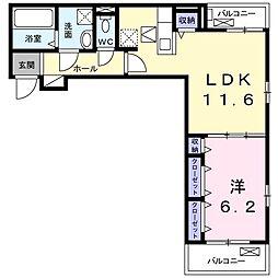 シャルマン 2階1LDKの間取り