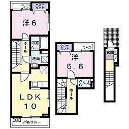小田急江ノ島線 湘南台駅 バス17分 石川橋下車 徒歩1分の賃貸アパート 2階2LDKの間取り