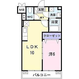 サン・ブローテ 3階1LDKの間取り