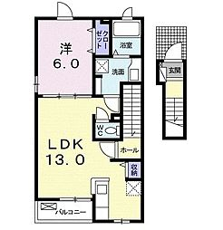 名鉄名古屋本線 本星崎駅 徒歩14分の賃貸アパート 2階1LDKの間取り