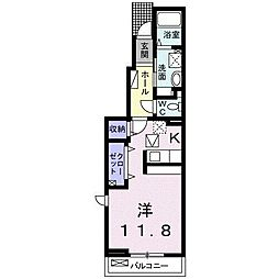 JR東北本線 宝積寺駅 徒歩11分の賃貸アパート 1階1Kの間取り