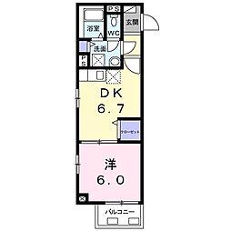 グランティア923 2階1DKの間取り