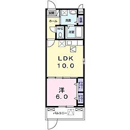 京阪本線 枚方公園駅 徒歩7分の賃貸アパート 1階1LDKの間取り