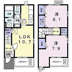 サニ-ジェントリ- E 1階2LDKの間取り