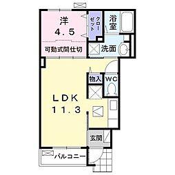円蔵アパート 1階1LDKの間取り
