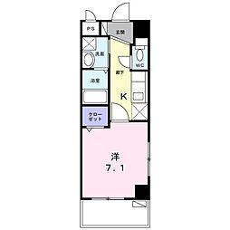 園田3丁目マンション 6階1Kの間取り