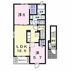 下烏田アパートII(仮称) 2階2LDKの間取り