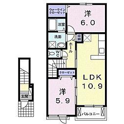 東武伊勢崎線 境町駅 徒歩10分の賃貸アパート 2階2LDKの間取り