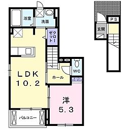 Hard Castle湘南IV 2階1LDKの間取り