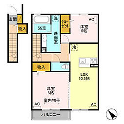 東武伊勢崎線 福居駅 徒歩10分の賃貸アパート 2階2LDKの間取り