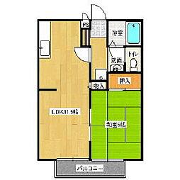 東武伊勢崎線 多々良駅 徒歩28分の賃貸アパート 2階1LDKの間取り