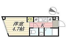 PASEO代田橋 1階ワンルームの間取り