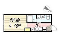 PASEO代田橋 4階ワンルームの間取り
