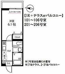JR横浜線 大口駅 徒歩4分の賃貸アパート 2階1Kの間取り