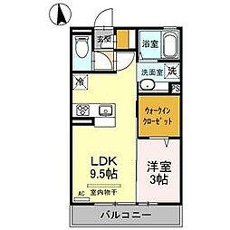 D-room Riviere 2階1LDKの間取り
