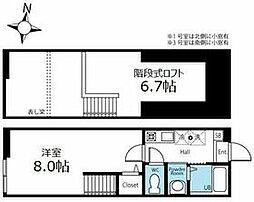 ハーミットクラブハウス桜山B棟(仮) 2階1Kの間取り