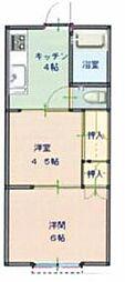 天津コーポ 2階2Kの間取り