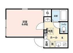 ライフタウン東長崎 4階1Kの間取り